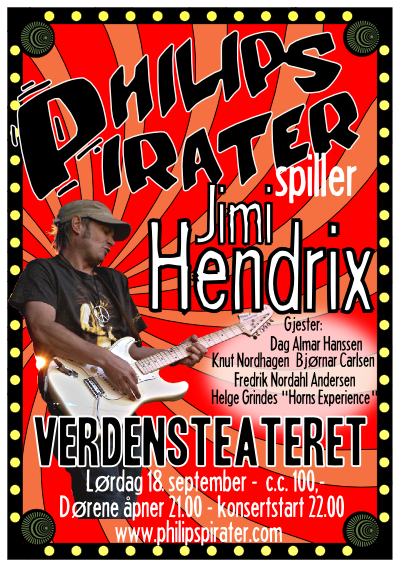Plakat: Philips Pirater spiller Jimi Hendrix